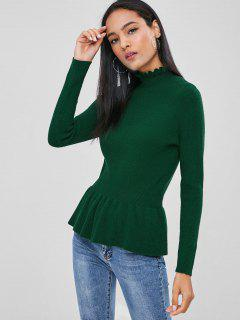Soft High Collar Peplum Sweater - Deep Green S