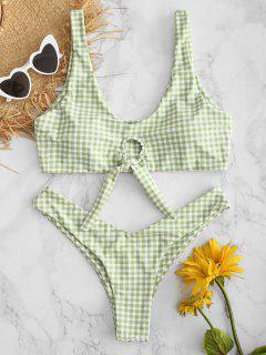 Conjunto De Bikini De Pierna Alta Anudada A Cuadros - Verde De Rana S