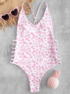 Leopard Lattice Backless Swimsuit - Multi-a M