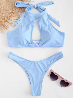 Conjunto De Bikini Halter Con Diseño De Ojo De Buey - Azul Claro M
