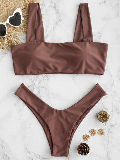 Gepolsterter High Cut Low Waist Bikini Set - Rosa Bogen L