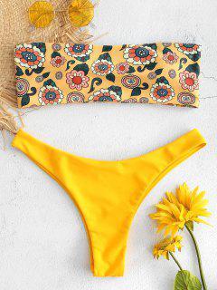 Floral Bedrucktes Bandeau Bikini Set - Biene Gelb M