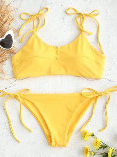 Krawatte Schulter Binden Seite Bikini Set - Gelb M