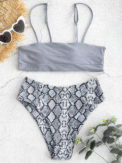 Snakeskin Print High Leg Ladder Cut Bikini Swimwear - Gray M