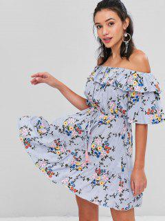 Robe à Épaules Dénudées Et à Volants Motif Floral  - Ange Bleu  Xl