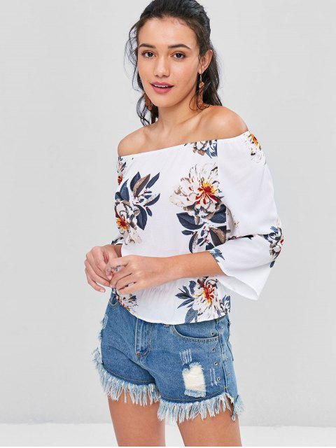unique Floral Textured Off The Shoulder Blouse - WHITE XL Mobile