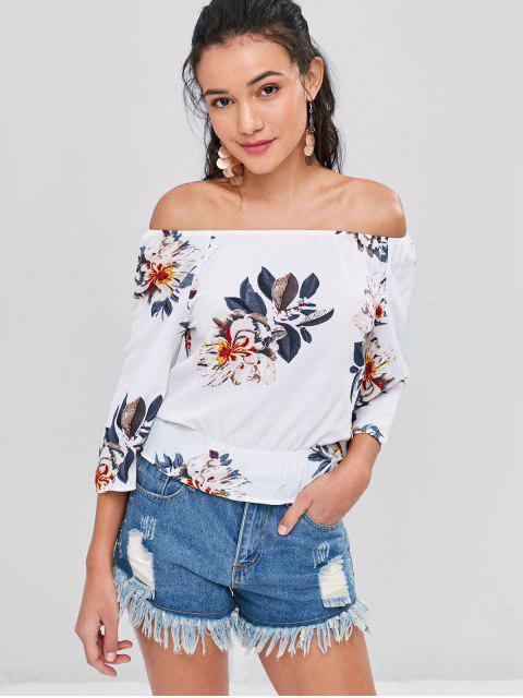 Blumen Textured Schulterfreie Bluse - Weiß XL Mobile