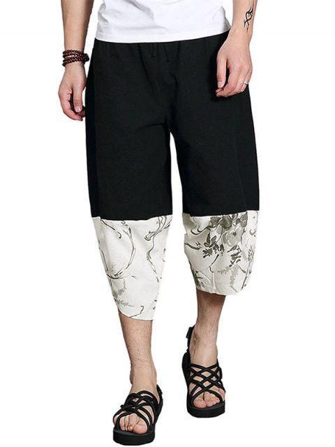 Patchwork Lässige Kurze Hose Mit Weitem Bein - Schwarz L Mobile