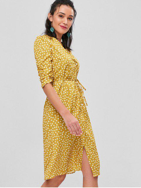 unique Bunched Sleeves Buttoned Midi Wrap Dress - MUSTARD L Mobile