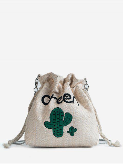 Patchwork bordado Casual String Crossbody Bag - Blanco Cálido  Mobile