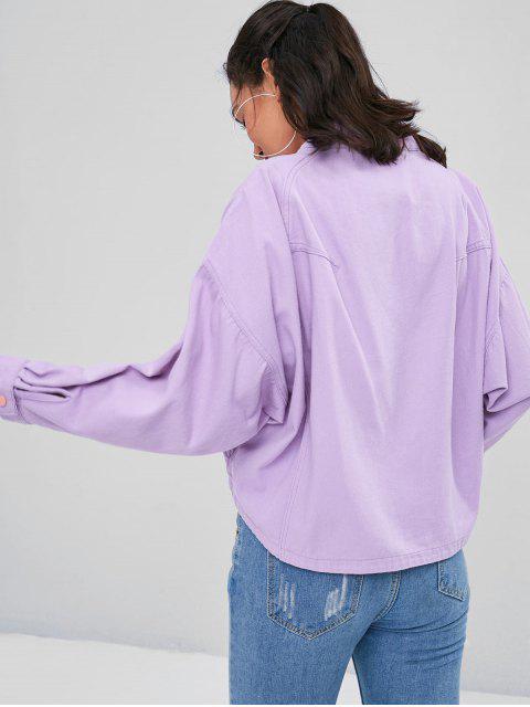 shops Dolman Sleeves Snap Button Jacket - MAUVE M Mobile