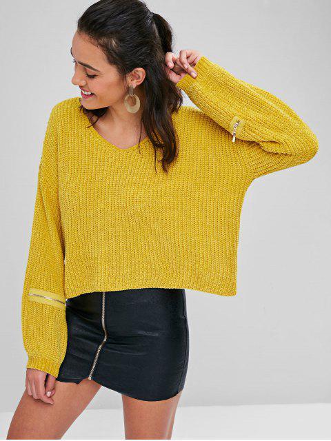 Reißverschluss Verschönertes Chunky Sweater - Niedliches Gummi Gelb M Mobile