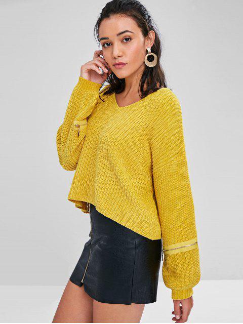 Suéter Volumoso Embelezada com Zíper - Borracha Ducky Amarela M Mobile