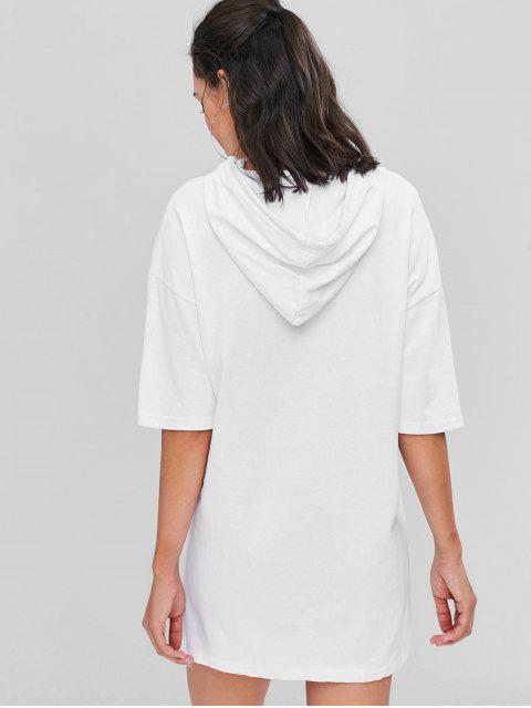 chic Solid Color Hooded Dress - WHITE ONE SIZE Mobile
