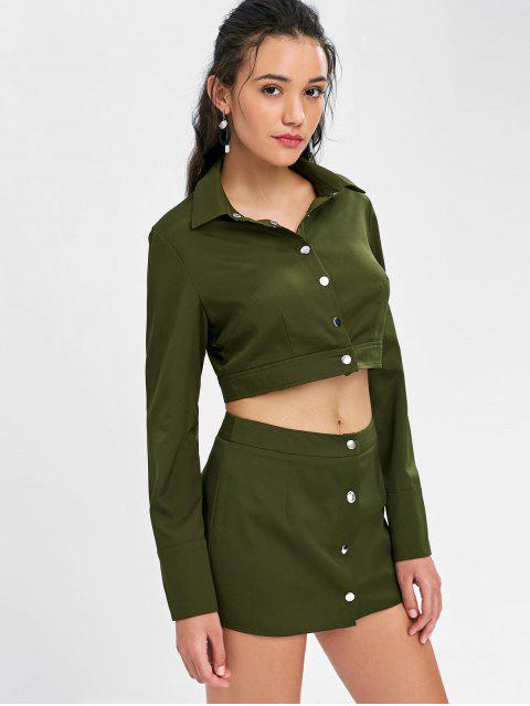 outfit Button Up Crop Shirt and Skirt Set - ARMY GREEN M Mobile
