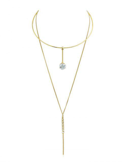latest Layer Rhinestone Chain Pendant Necklace - GOLD  Mobile