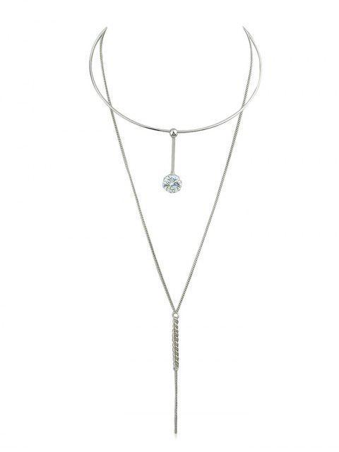 Chaîne strass collier chaîne pendentif - Argent  Mobile