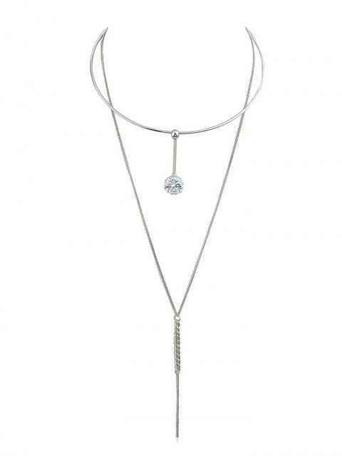 Cadena de diamantes de imitación collar colgante de cadena - Plata  Mobile