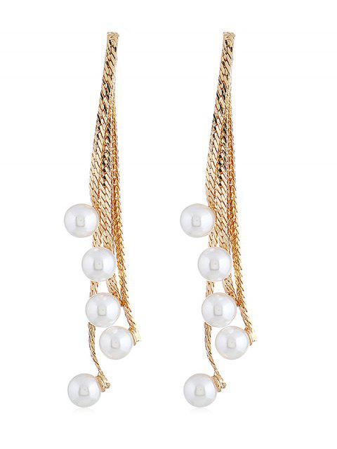affordable Artificial Pearls Chain Tassel Pendant Earrings - GOLD  Mobile