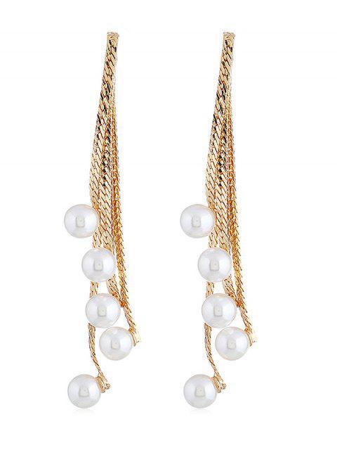 Künstliche Perlen Kette Quaste Anhänger Ohrringe - golden  Mobile