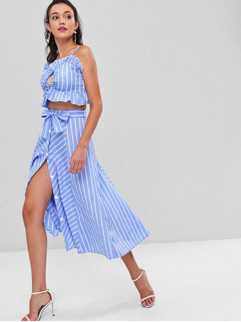 best Striped Cami Belted Skirt Set - LIGHT SKY BLUE M Mobile