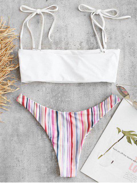 womens High Leg Colorful Striped Bikini Set - MULTI M Mobile