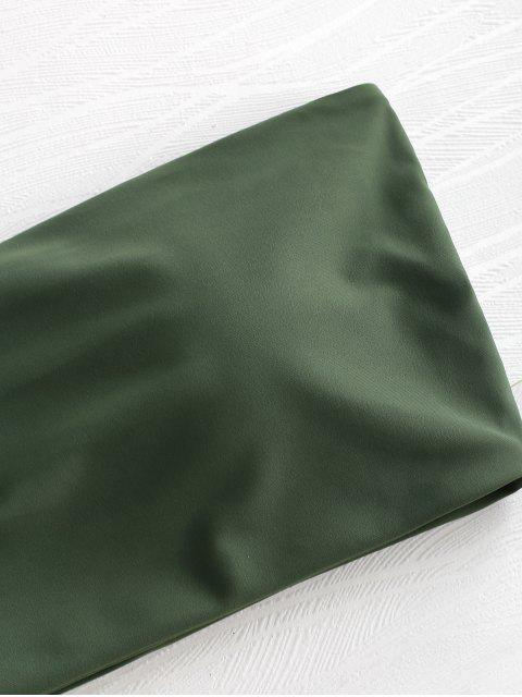 Bikini Tube Arbre Noix de Coco à Coupe Haute - Vert Camouflage L Mobile