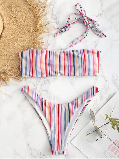 sale Colorful Striped Tie Shoulder Bikini Set - MULTI M Mobile