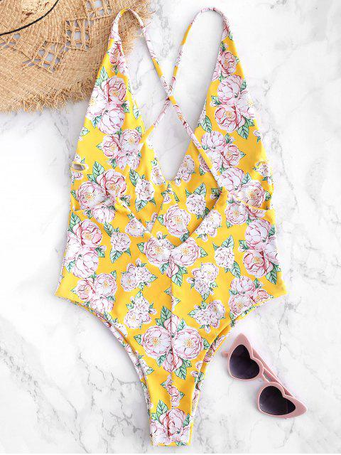ladies Floral Criss Cross Backless Swimsuit - RUBBER DUCKY YELLOW M Mobile