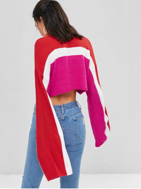 fancy Color Block Cropped Sweater - DEEP PINK XL Mobile