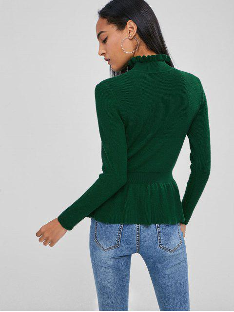 womens Soft High Collar Peplum Sweater - DEEP GREEN L Mobile