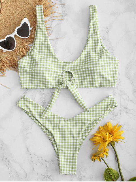 shop Plaid Knotted High Leg Bikini Set - FROG GREEN S Mobile