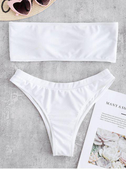 Textured Bandeau Bikini Bademode - Weiß L Mobile