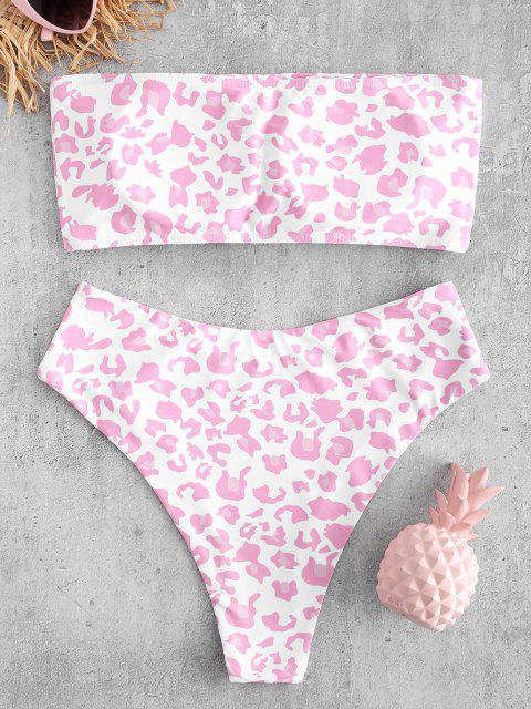 women ZAFUL Animal Print Bandeau Bikini Set - MULTI-A L Mobile