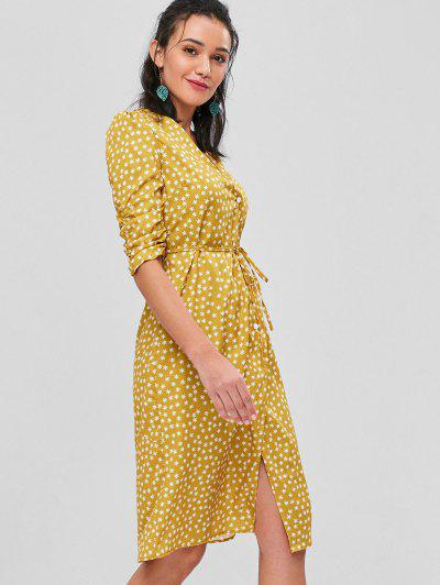 47e23db18 Bunched Sleeves Buttoned Midi Wrap Dress - Mustard M ...