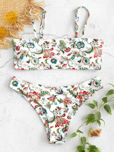 dc71726473 Low Waist Floral Bikini Set - White M
