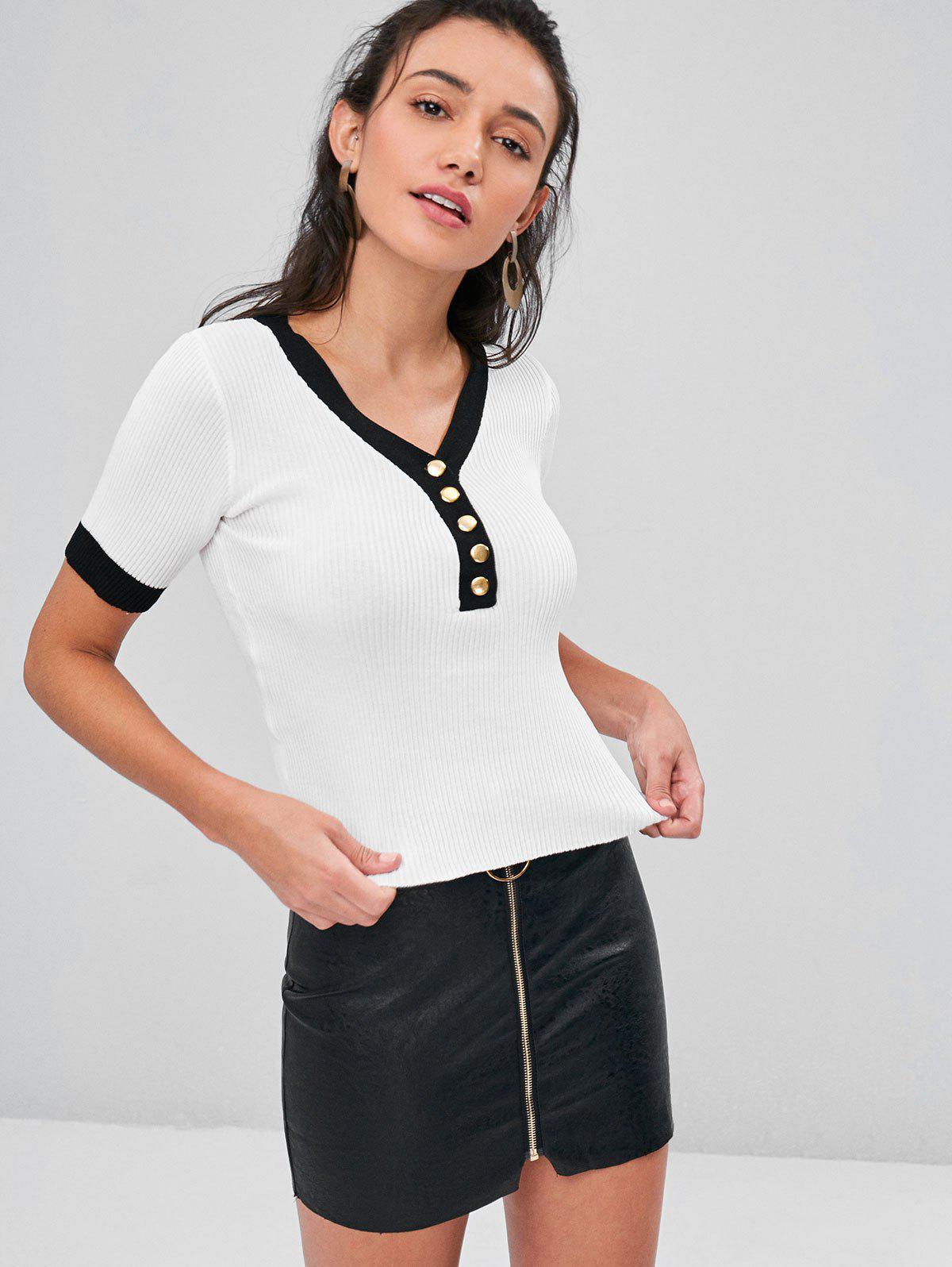 Contrast Trim Ribbed Knit V Neck T-Shirt