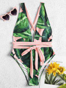 ربط الذاتي بالم النخيل قطعة واحدة ملابس السباحة - متعددة-a S