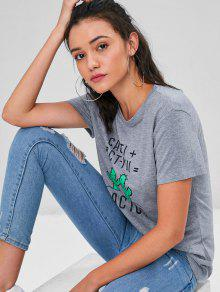 Cactus Gris Jersery Front Graphic Tee Heather L nZU1A