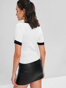 Knit Trim Contrast Neck Ribbed Blanco V Camiseta wEqHzgd6xq