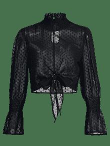 Cuello Corta Negro Con Alto De M Blusa Plumetis Sheer v1qUdxEw