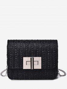 حقيبة كروس صغيرة بحمالة معدنية - أسود