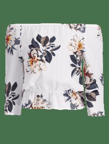 La Con Del De Blanco Floral L Textura Blusa Hombro qqwB7tvr