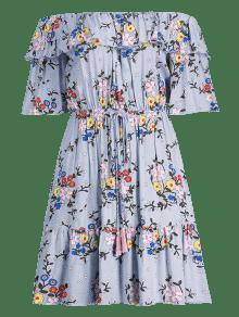 Del Azul 225;ngel Del S Florales Vestido Hombro Volantes pzHYvv