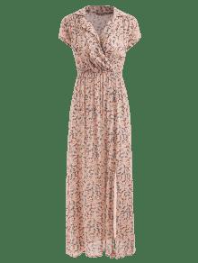 Antiguo Maxi Vestido Abertura a S Floral Blanco Peque Con qBAq40