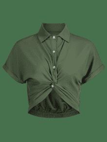 Redondo Corta Verde Camisa Cuello Manga De Ejercito Con M Corta FwwqYxtCa