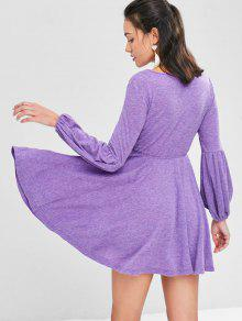 62% OFF  2019 High Waist Mini Flare Dress In PURPLE XL  c30f7e29b