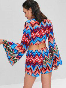 Sleeves S Zigzag Knotted Set Multi Shorts Flare SnwRzq7Oxz