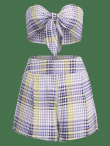 Pantalones Conjunto Cortos M Cuadro De De Vichy 250;rpura Tie P 5xxqw1