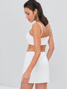 Blanco Conjunto Parte En Camisero La Cuello Falda De Con S Delantera 07r0zq